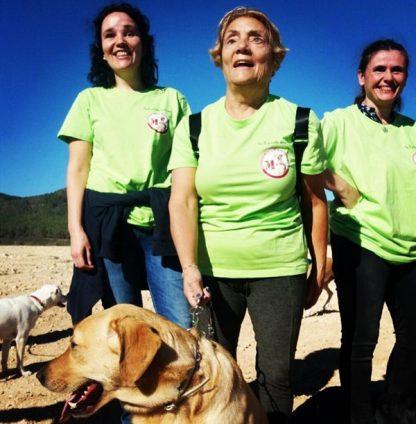 Camiseta verde solidaria logo asociacion perros guia